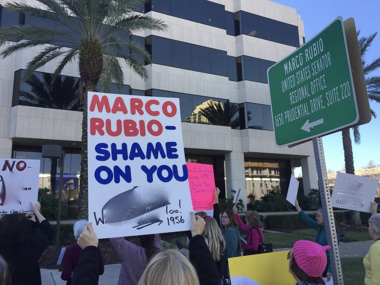 ProProtestors at Senator Marco Rubio's district office in Florida.