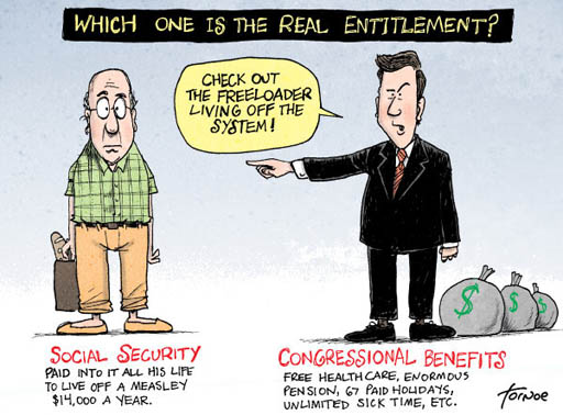 Political cartoon comparing Social Security benefits to benefits for retired Congressmen