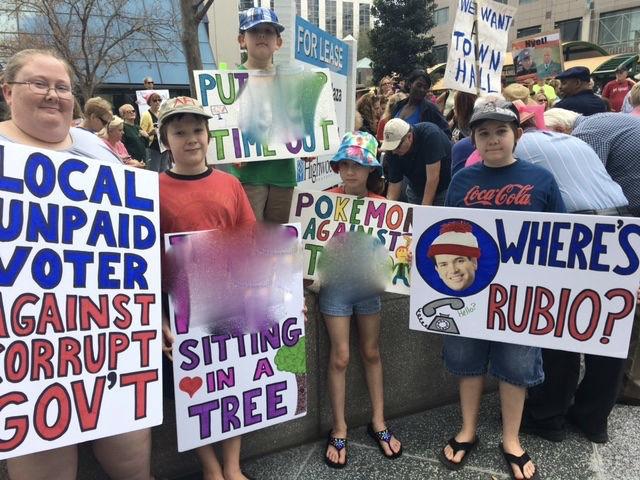 Protestors at Senator Marco Rubio's office in Florida