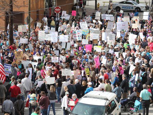 Protestors in the street