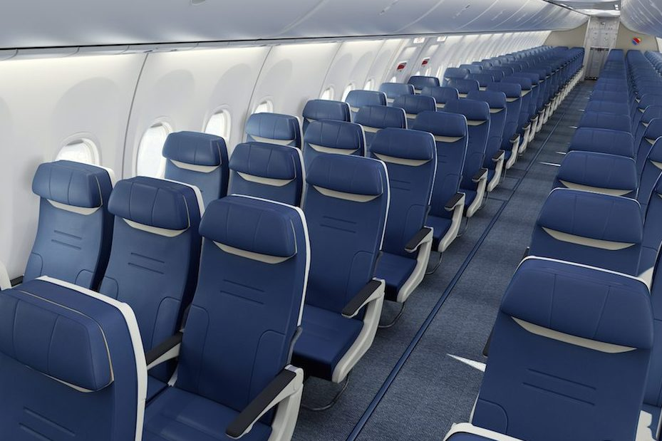 Slimline seats on plane