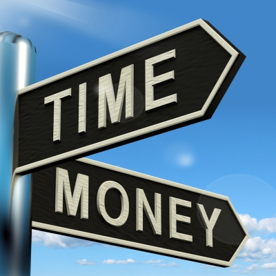 time and money street sign